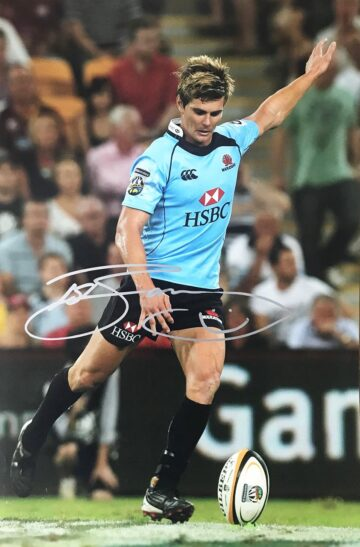 Signed Berrick Barnes Photograph - NSW Waratahs Rugby - Firma Stella