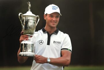 Signed Martin Kaymer Photo, US Open Trophy - Firma Stella