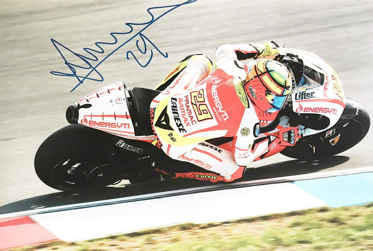 Signed Andrea Iannone Poster Photo - Authentic Moto GP Autograph