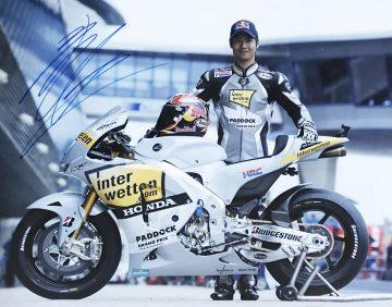 Signed Hiroshi Aoyama Poster Photo - Moto GP Autograph