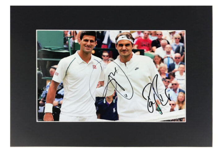 Signed Roger Federer & Novak Djokovic Photo