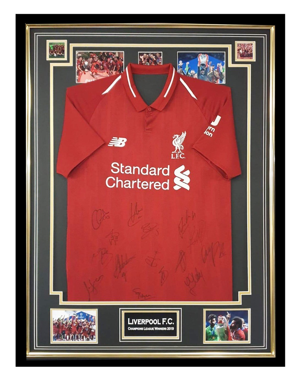 signed liverpool fc jersey framed champions league winners shirt 2019 firma stella