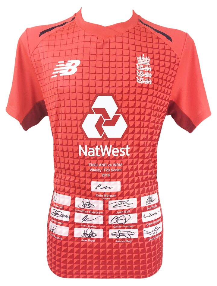 Signed England Cricket Shirt - Fully Autographed Twenty 20 Jersey