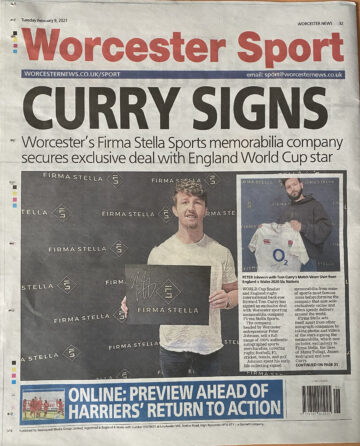 Worcester Sport - Article on Firma Stella Signing Tom Curry