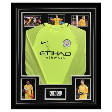 Signed Ederson Shirt Framed - Manchester City Icon Autograph